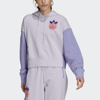 Sudadera con capucha Cropped Logo Play Violeta Mujer Originals