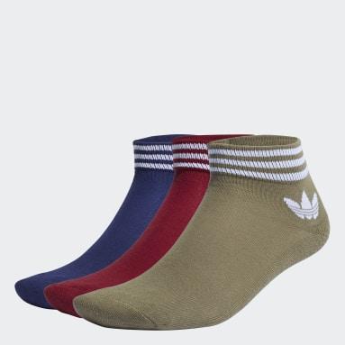 Trefoil Ankle Socks 3 Pairs Bordowy