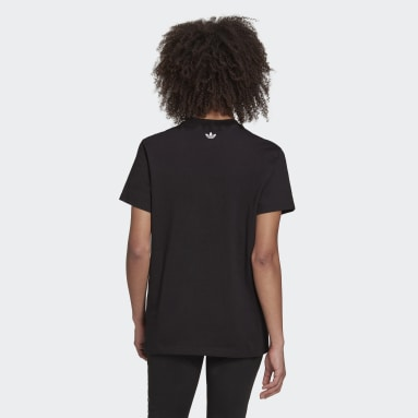 Women's Originals Black Loose Tee with Trefoil Fringe Embroidery