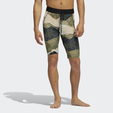 Men's Yoga Green Earth Graphic Fitted Yoga Shorts