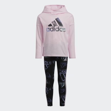 Children Training Pink Long Sleeve Tee and Printed Tights Set
