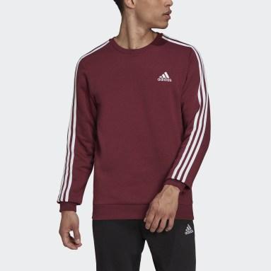 Men's sport_inspired Burgundy Essentials Fleece 3-Stripes Sweatshirt