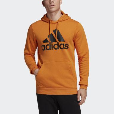 Men's Essentials Orange Essentials Fleece Big Logo Hoodie