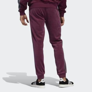 Men Originals Burgundy adidas SPRT Velour 3-Stripes Pants