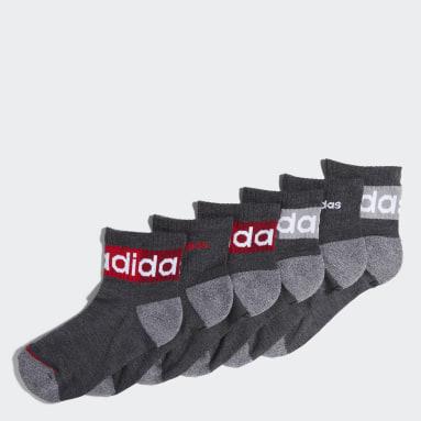 Children Training Black Blocked Linear Quarter Socks 6 Pairs