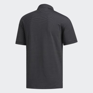 Men Golf Black Adipure Tech Stripe Polo