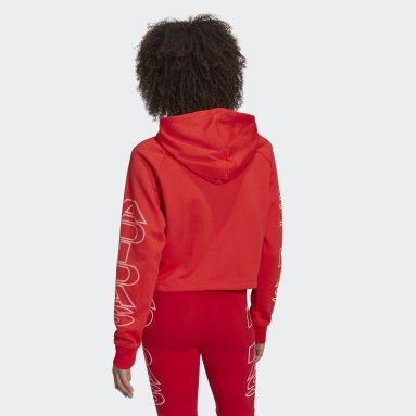 Sweat-shirt à capuche Cropped Letter Rouge Femmes Originals