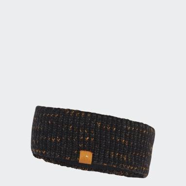 Women Gym & Training Black Fleece-Lined AEROREADY Knit Headband