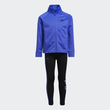 Children Training Blue Power Tricot Jacket and Tights Set