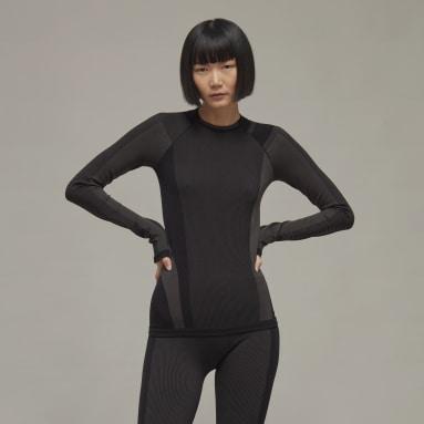 Kvinder Y-3 Sort Y-3 Classic Seamless Knit Long Sleeve trøje
