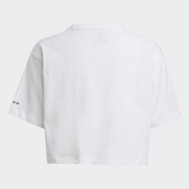 белый Укороченная футболка Adicolor