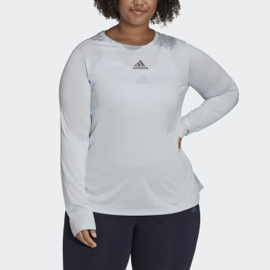 Women's Essentials Blue adidas x Zoe Saldana Long Sleeve Tee (Plus Size)