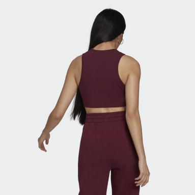 Camiseta sin mangas Adicolor Essentials Rib Burgundy Mujer Originals