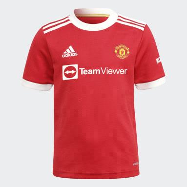Divisa Mini Away 21/22 Manchester United Rosso Bambini Calcio