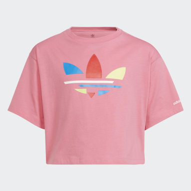 Girls Originals Pink Adicolor Cropped Tee