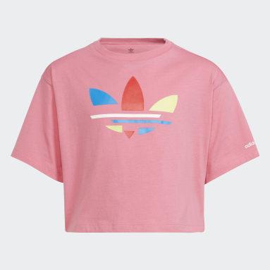 Camiseta Adicolor Cropped Rosa Niña Originals