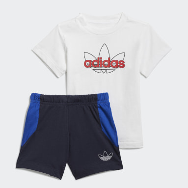 Infants Originals White adidas SPRT Collection Shorts Graphic Tee Set