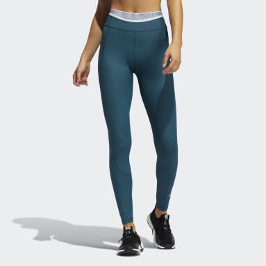 Women Gym & Training Turquoise Techfit Badge of Sport Long Tights
