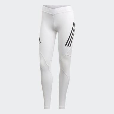 Mallas Largas Alphaskin Sport 3 Franjas - Corte Bajo Blanco Mujer Training