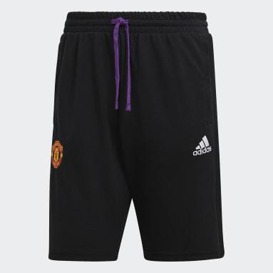 Men Football Black Manchester United Travel Shorts