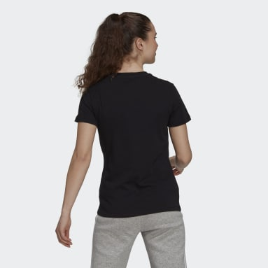 Women's sport_inspired Black Vertical Logo Soft Floral Graphic Tee