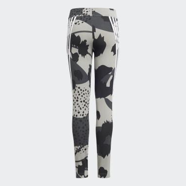Girls Gym & Training Grey Future Icons Sport Cotton 3-Stripes Wild Shapes Allover-Print Leggings