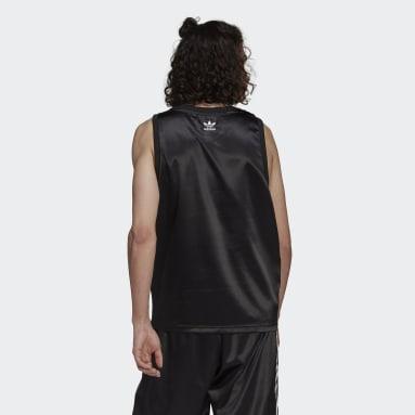 Men Originals Black Adicolor Trefoil 3-Stripes Satin Tank Top