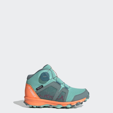 Kids TERREX Green Terrex Agravic Boa Mid RAIN.RDY Hiking Shoes
