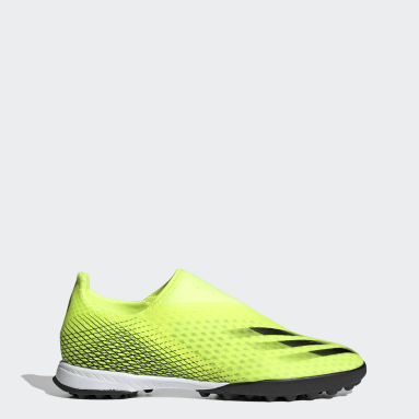 Women Football Yellow X Ghosted.3 Laceless Turf Boots