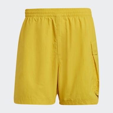 Men Y-3 Yellow Y-3 Utility Swim Shorts