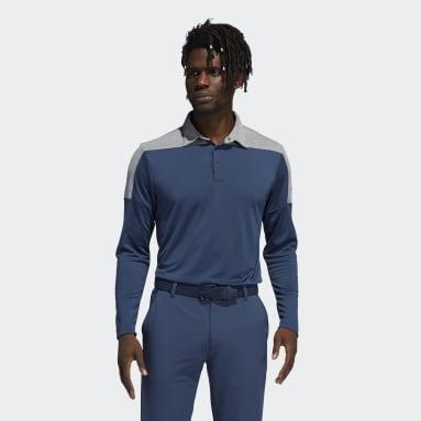 Men's Golf Blue Primegreen Long Sleeve Polo Shirt