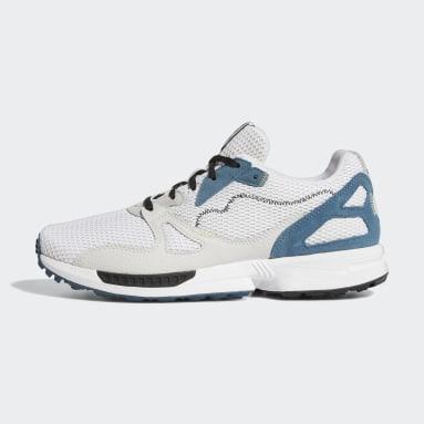 กอล์ฟ สีขาว รองเท้ากอล์ฟแบบไร้ปุ่ม Adicross ZX Primeblue
