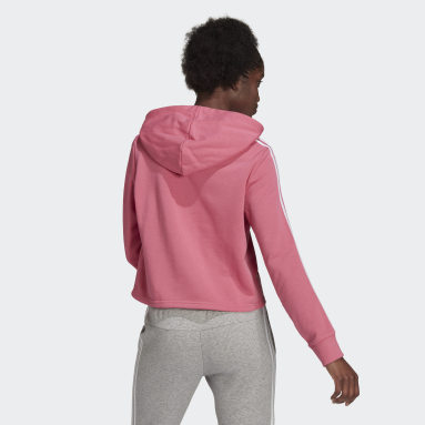 Women's Essentials Pink Essentials 3-Stripes Cropped Hoodie