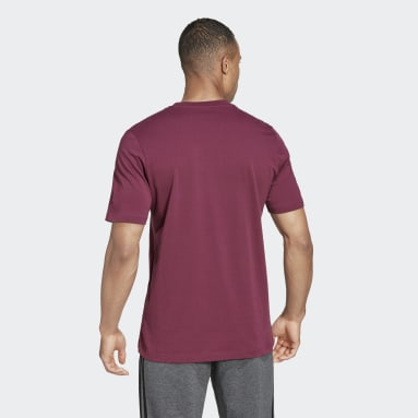 Essentials Embroidered Linear Logo Tee Bordowy