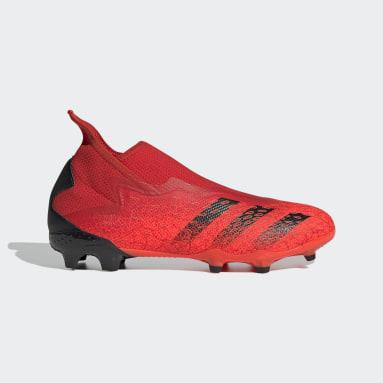 Botines Predator 19.3 Sin Cordones Terreno Firme Rojo Hombre Fútbol