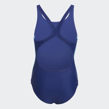 Meisjes Zwemmen Blauw Athly V 3-Stripes Badpak