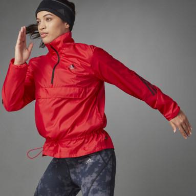 Women's Running Red Woven Half-Zip Windbreaker