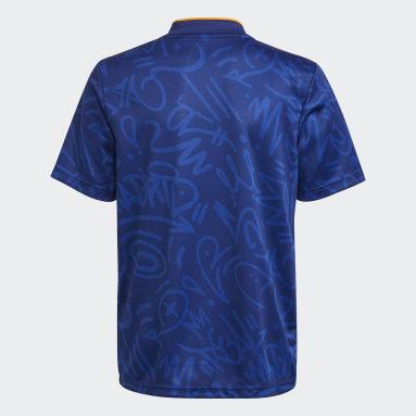 Camisa 2 Real Madrid 21/22 Azul Meninos Futebol