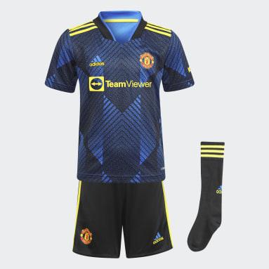 Kids 4-8 Years Football Blue Manchester United 21/22 Third Mini Kit