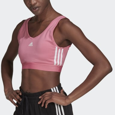 Women Sport Inspired Pink Essentials 3-Stripes Crop Top With Removable Pads