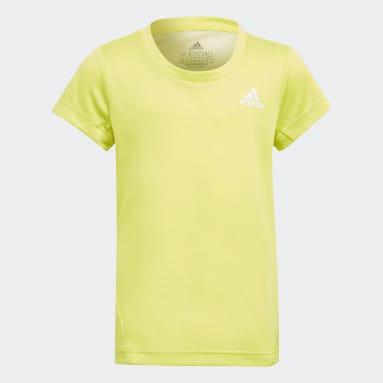 Girls Gym & Training Yellow AEROREADY 3-Stripes Tee