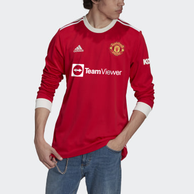 Men's Soccer Red Manchester United 21/22 Long Sleeve Home Jersey