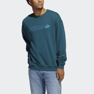 Sweat-shirt Embroidered Crew Turquoise Hommes Originals