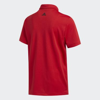 Jungen Golf 3-Streifen Poloshirt Rot
