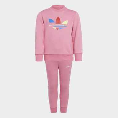 Kids Originals Pink Adicolor Crew Set