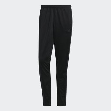 Men Gym & Training Black Tricot 3-Stripes Tapered Pants