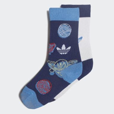Kids Originals Blue Trefoil Universe Crew Socks 2 Pairs
