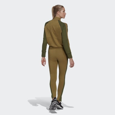 Women Sportswear Brown Bomber Jacket and Tights Tracksuit