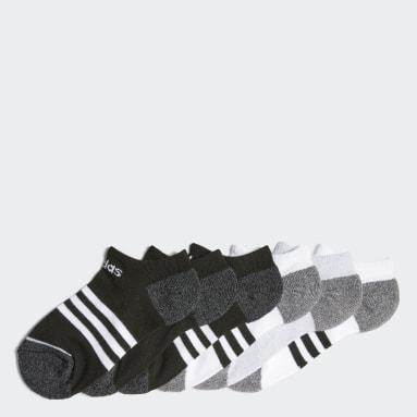 Children Training Black 3-Stripes No-Show Socks 6 Pairs