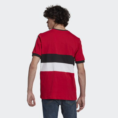 Men Football Red Manchester United 3-Stripes Tee
